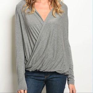 Tops - Gray slub wrap Knit long sleeve hoodie
